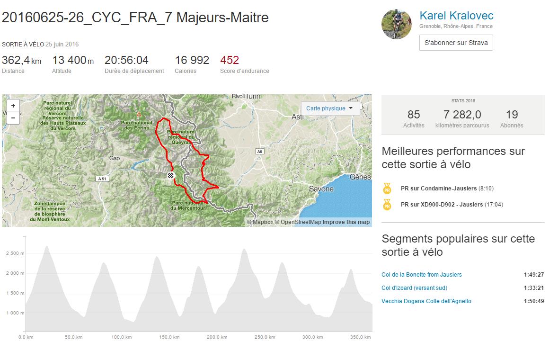Profil de sortie à vélo 20160625 26_CYC_FRA_7 Majeurs Maitre près de Temps et records Strava